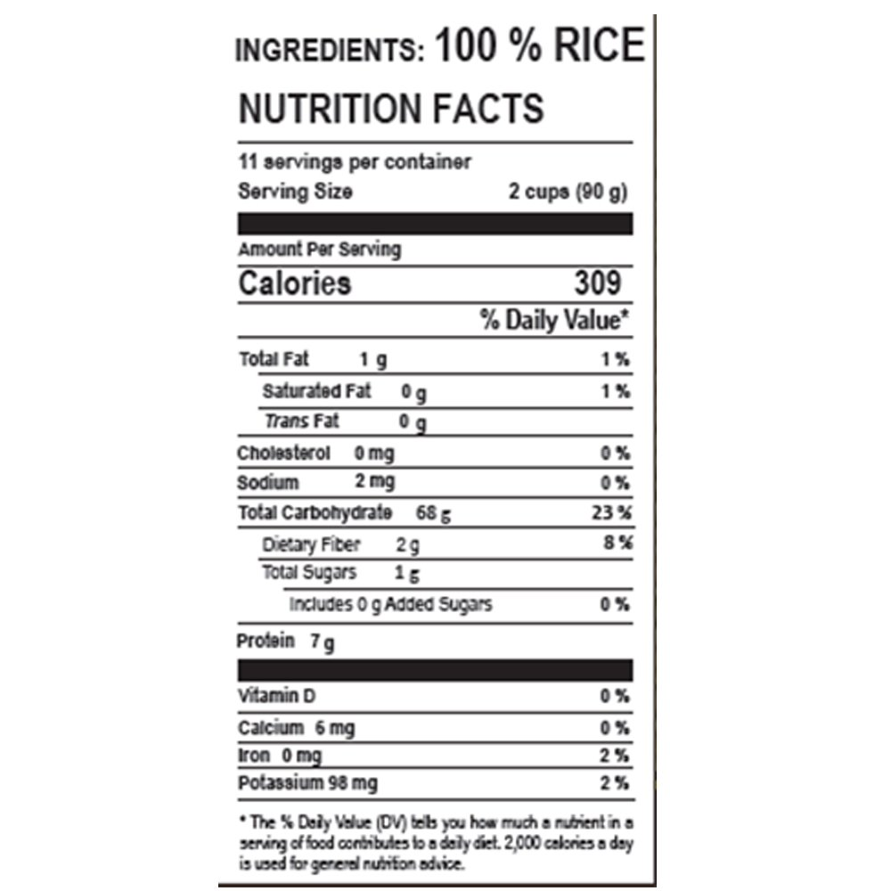Bomba Rice Nutritional Label