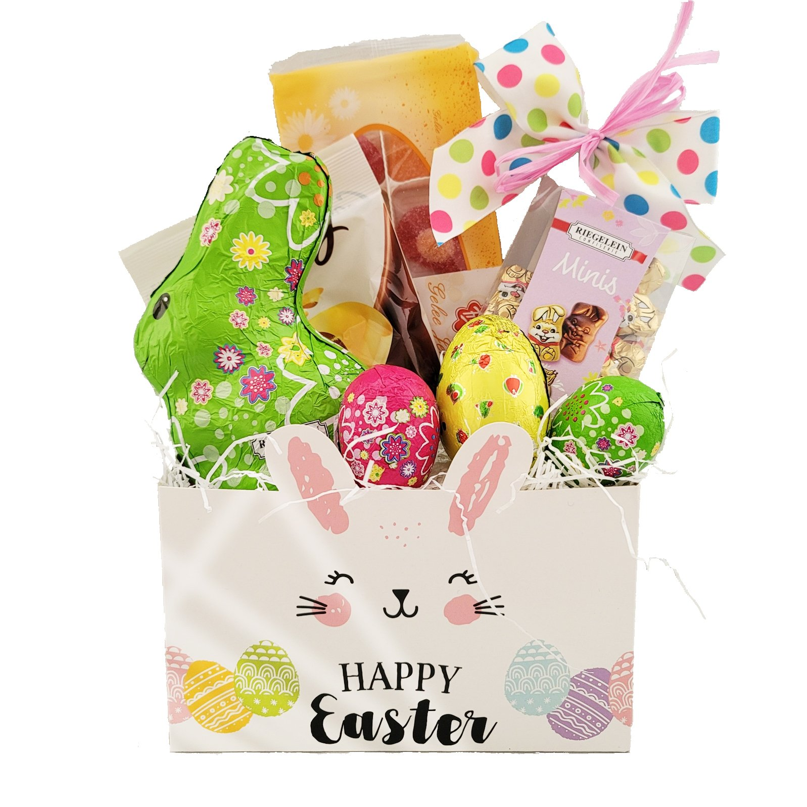 Happy Easter Bunny and Treats Basket