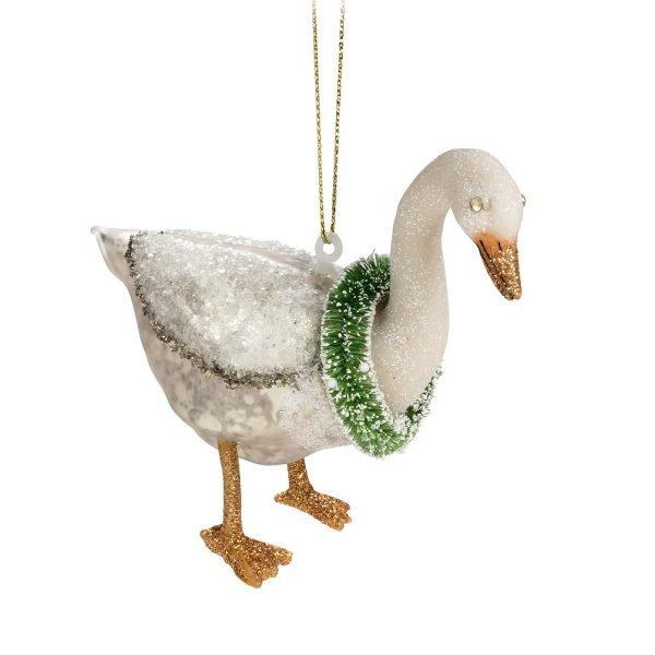 Glass goose ornament