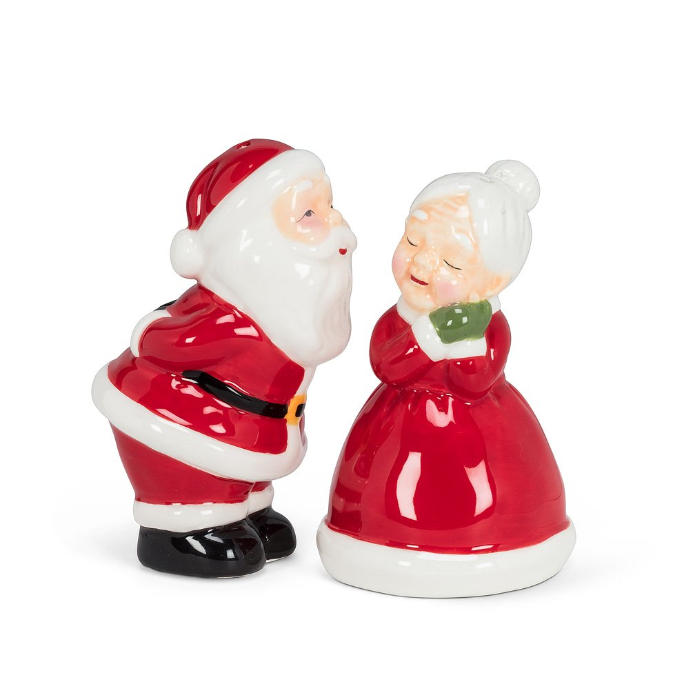 Salt & Pepper Santa & Mrs Clause kissing