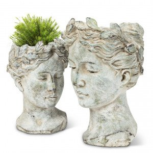 Stone Goddess Head Cement Planter