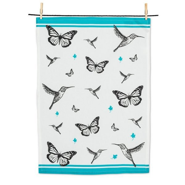 Tea towel with butterflies and hummingbirds