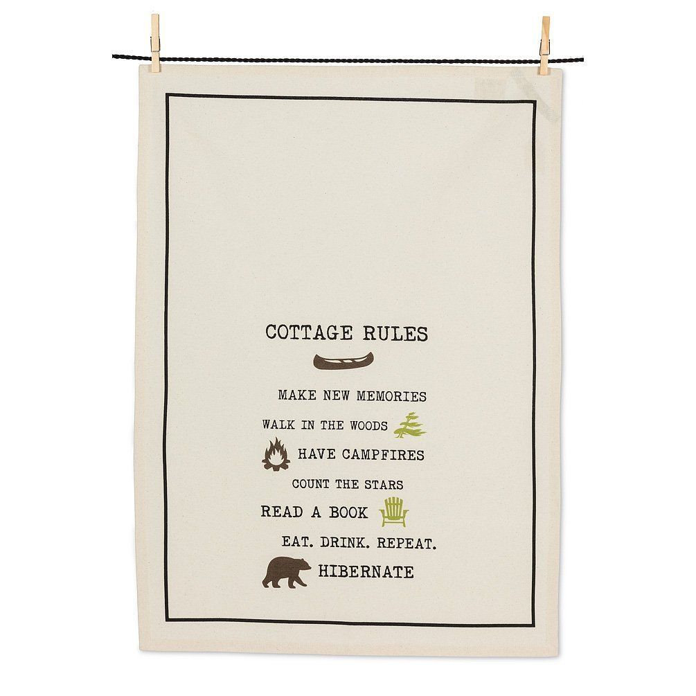 Cottage Rules tea towel