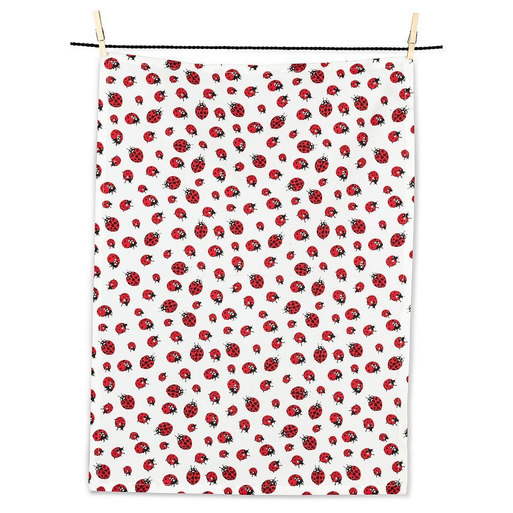Red Ladybugs tea towel