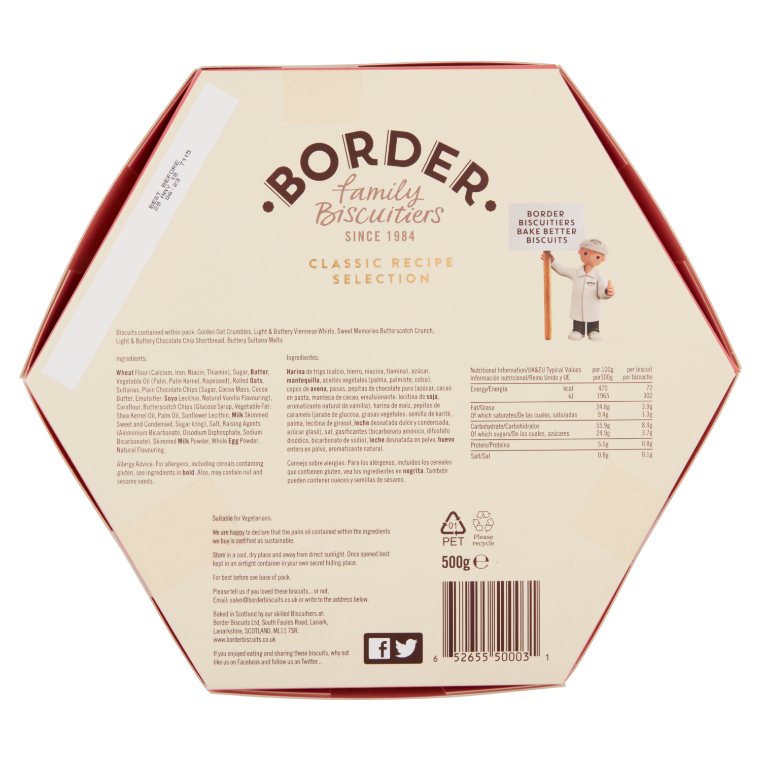 Border Biscuits Selection Hex carton