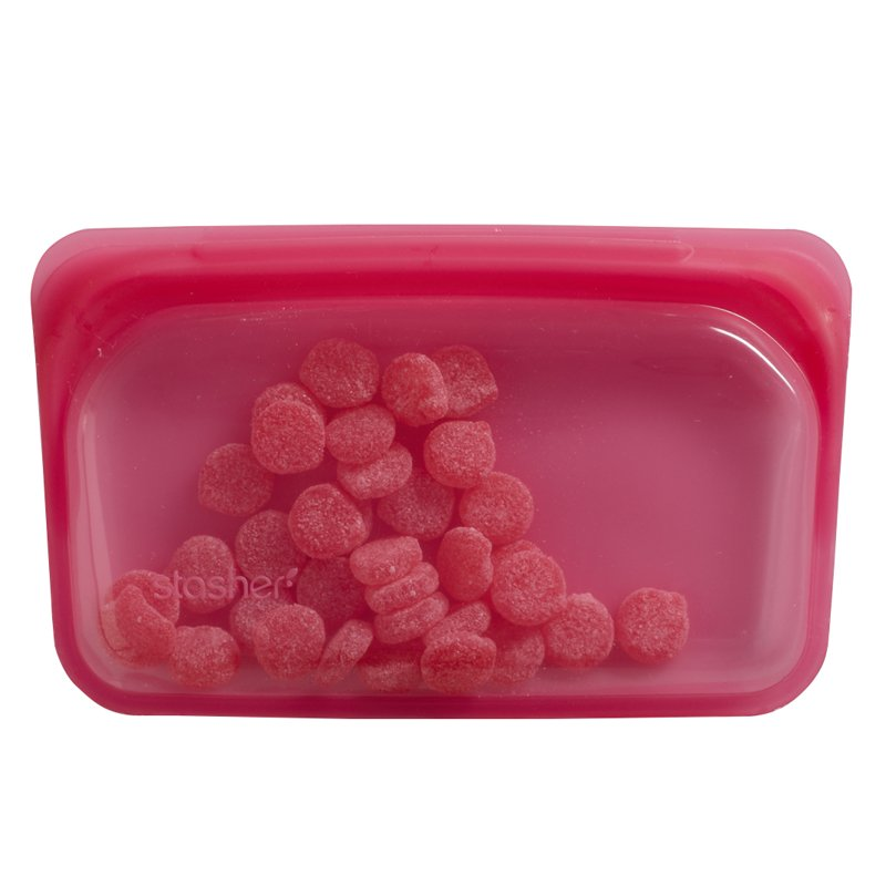 Stasher Silicone Raspberry Snack Bags