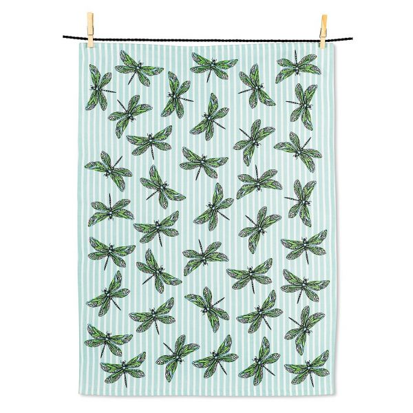 Dragonflies on Stripes Tea Towel
