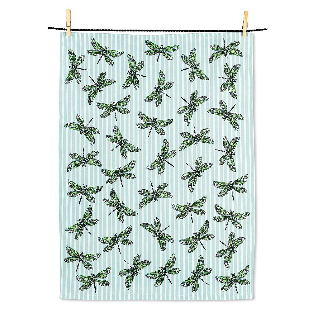 Dragonflies on Stripes Tea Towel