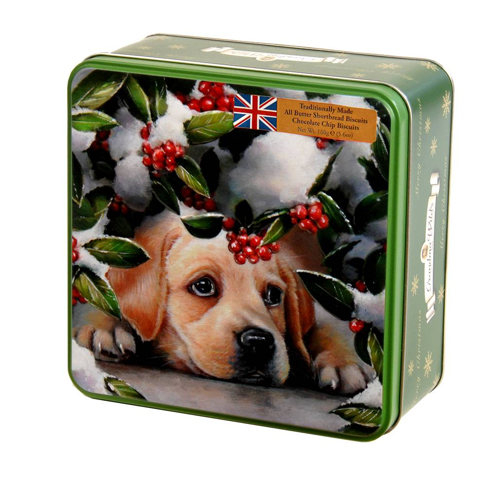 Grandma Wild's Embossed Puppy & Berries tin with English biscuits (160g )