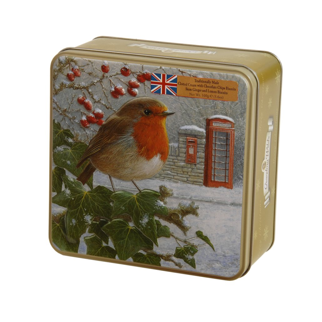 Embossed Robin with telephone & Post Box