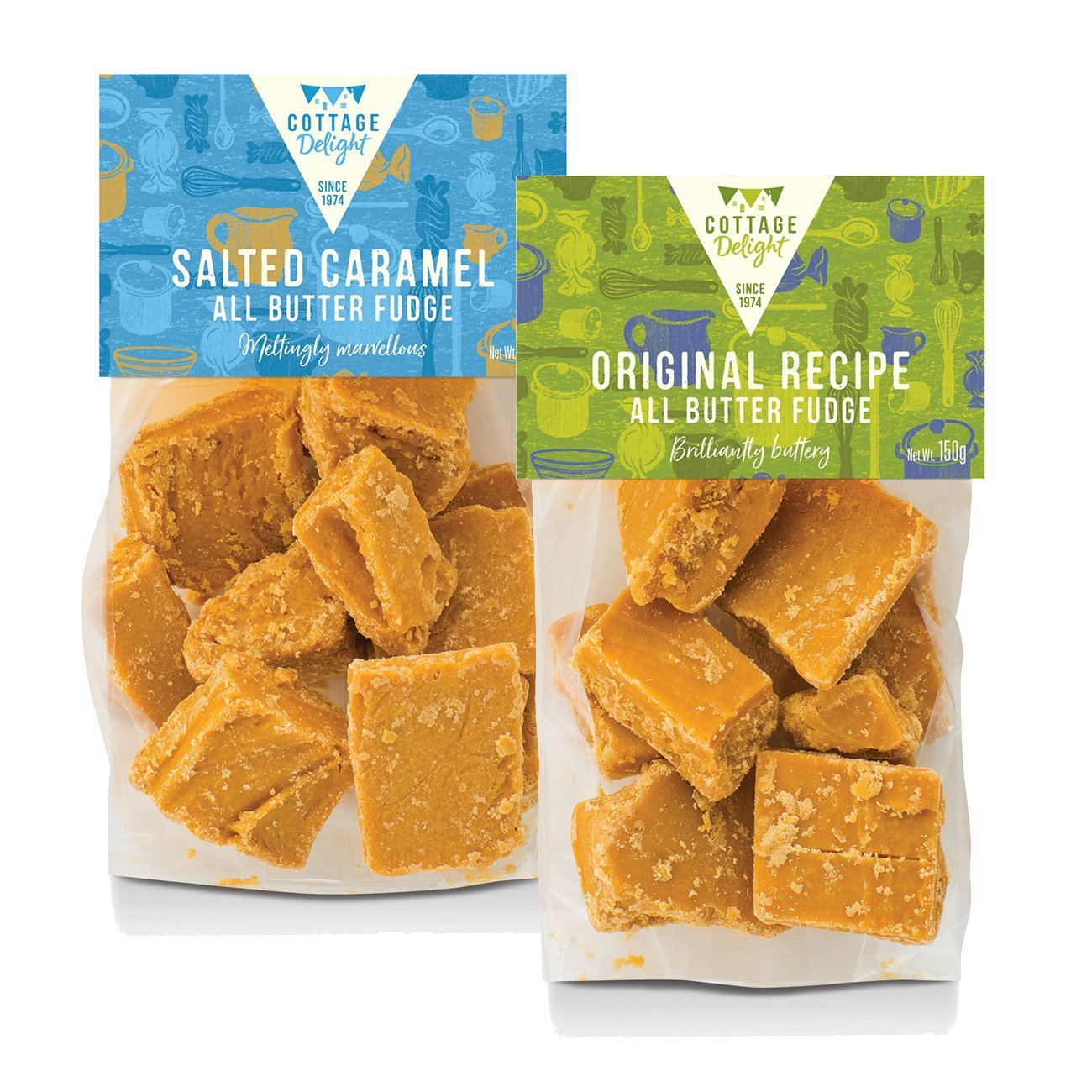 Cottage Delight Salted Caramel and Original All Butter Fudge Assorted 150g (2 pack)