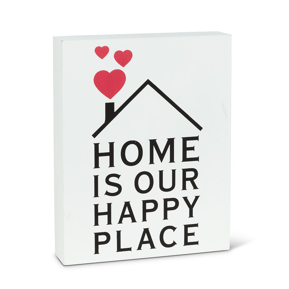 Home is our happy place decorative wood block