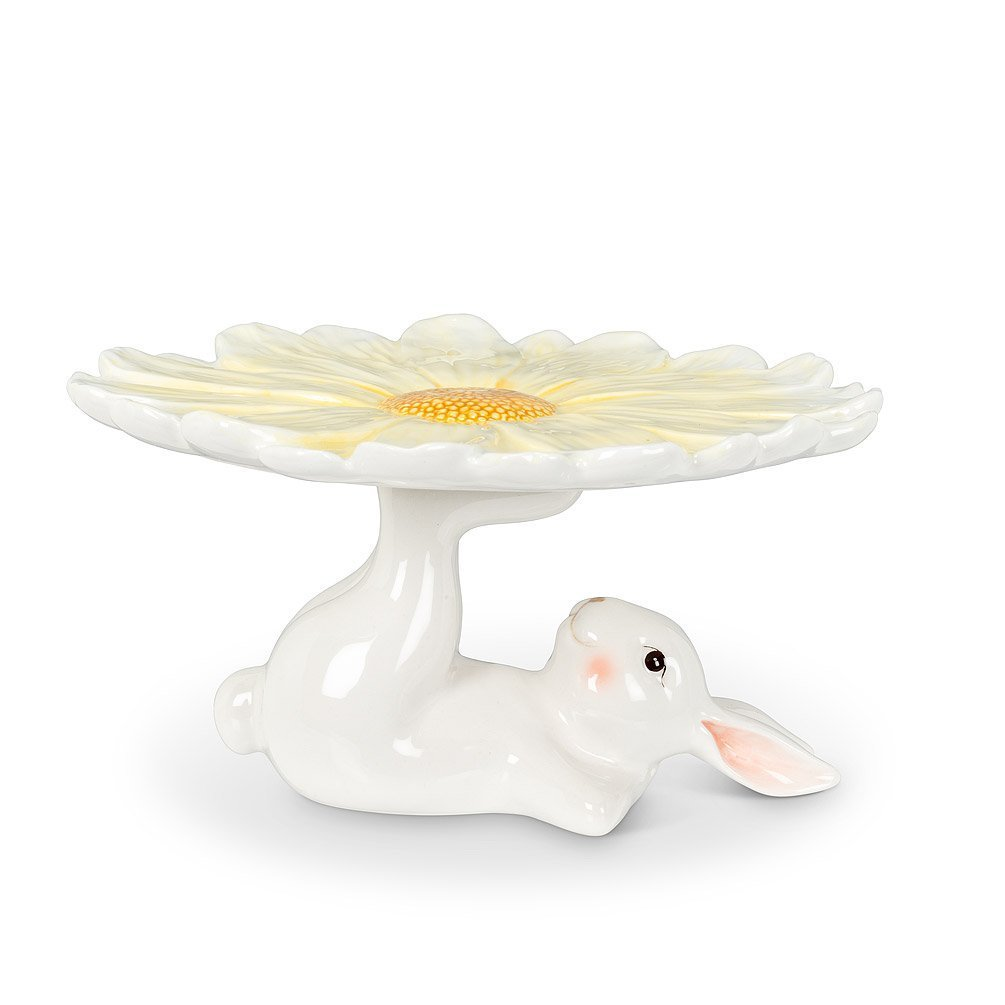 Rabbit with Flower Pedestal Plate