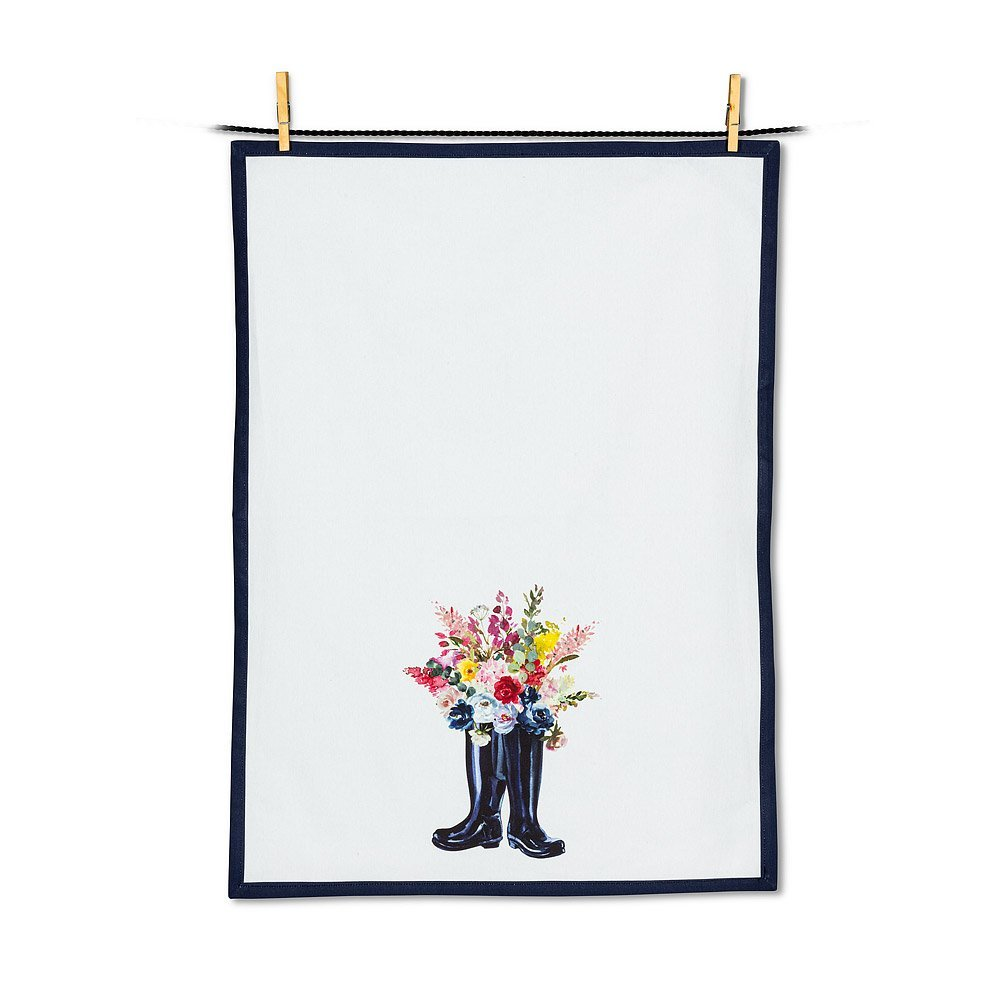 Flowers & Rubber Boots tea towel