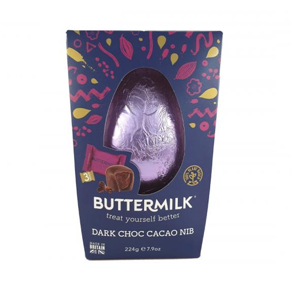 Buttermilk Dairy Free Dark Chocolate Cacao Nib Easter Egg 224g