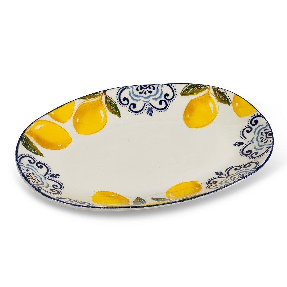 Lemon Print Oval Platter