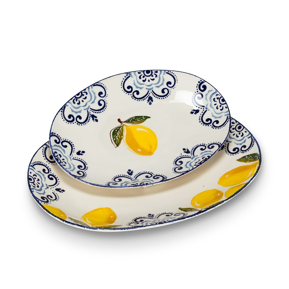Lemon Print Oval Platter