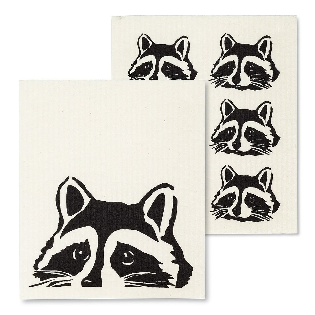 Peeking Raccoon Dishcloths
