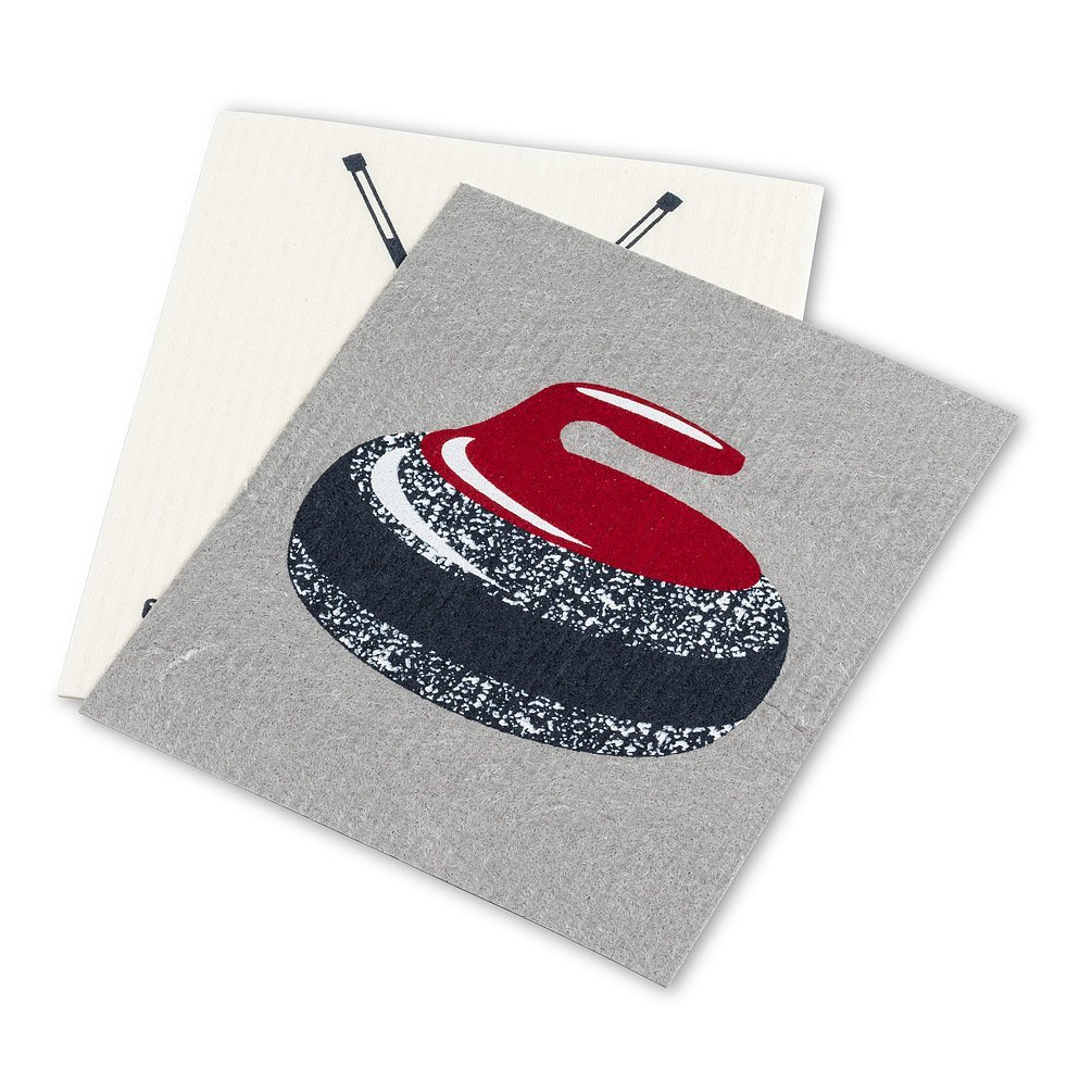 Curling Rock & Brooms Dishcloths