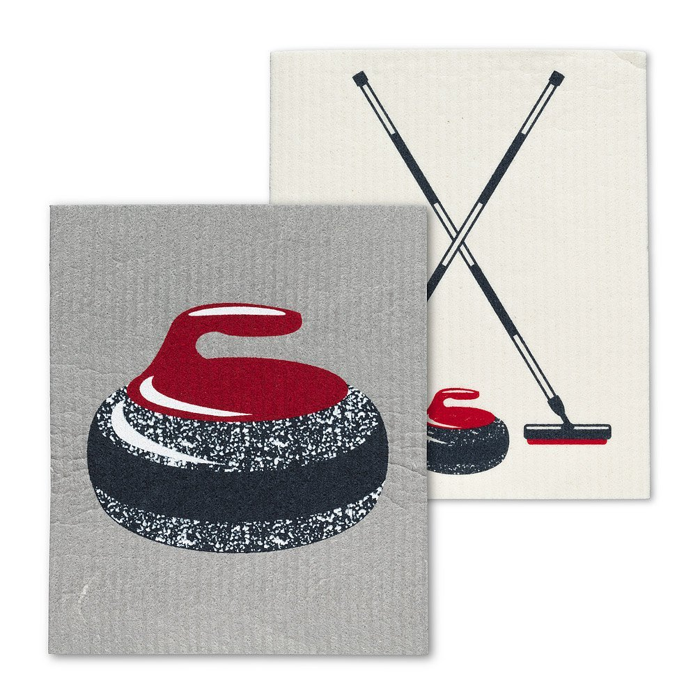 Curling Rock & Brooms Dishcloths