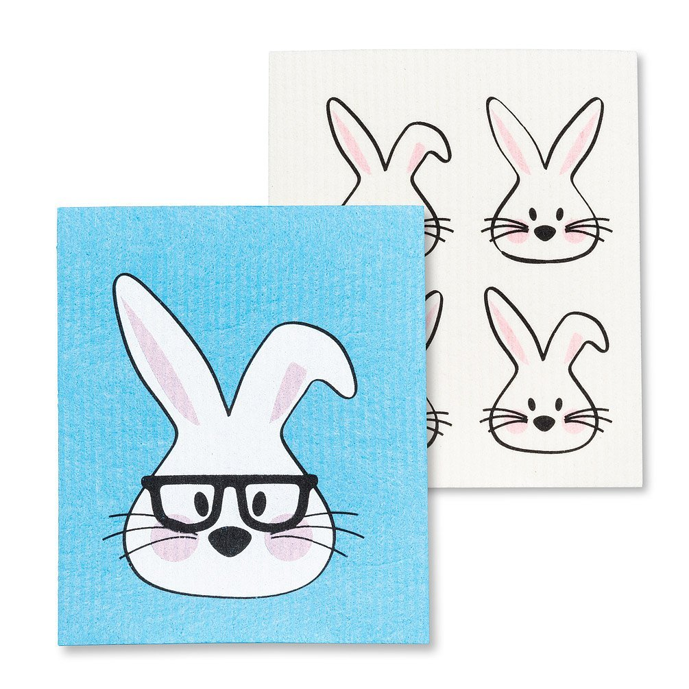 Rabbit with Glasses dishcloth