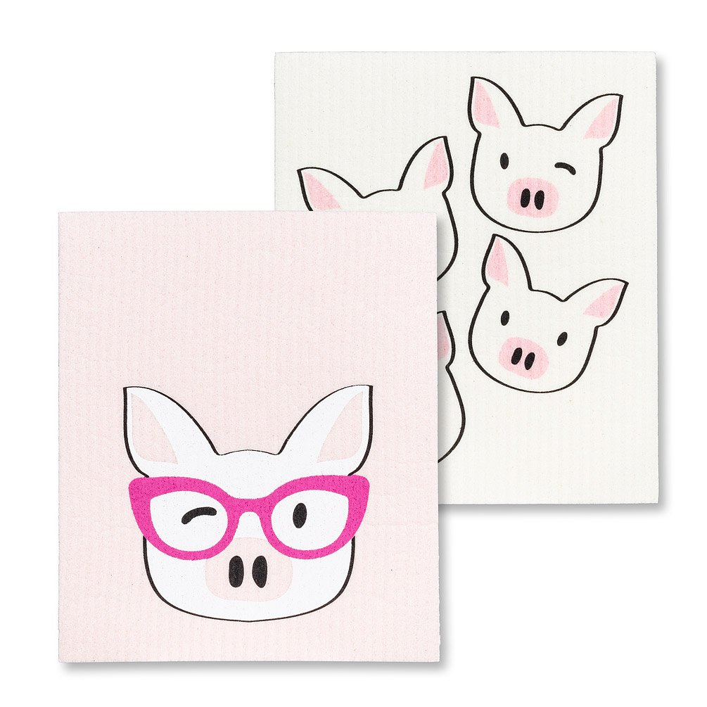 Pig with Glasses Dishcloths
