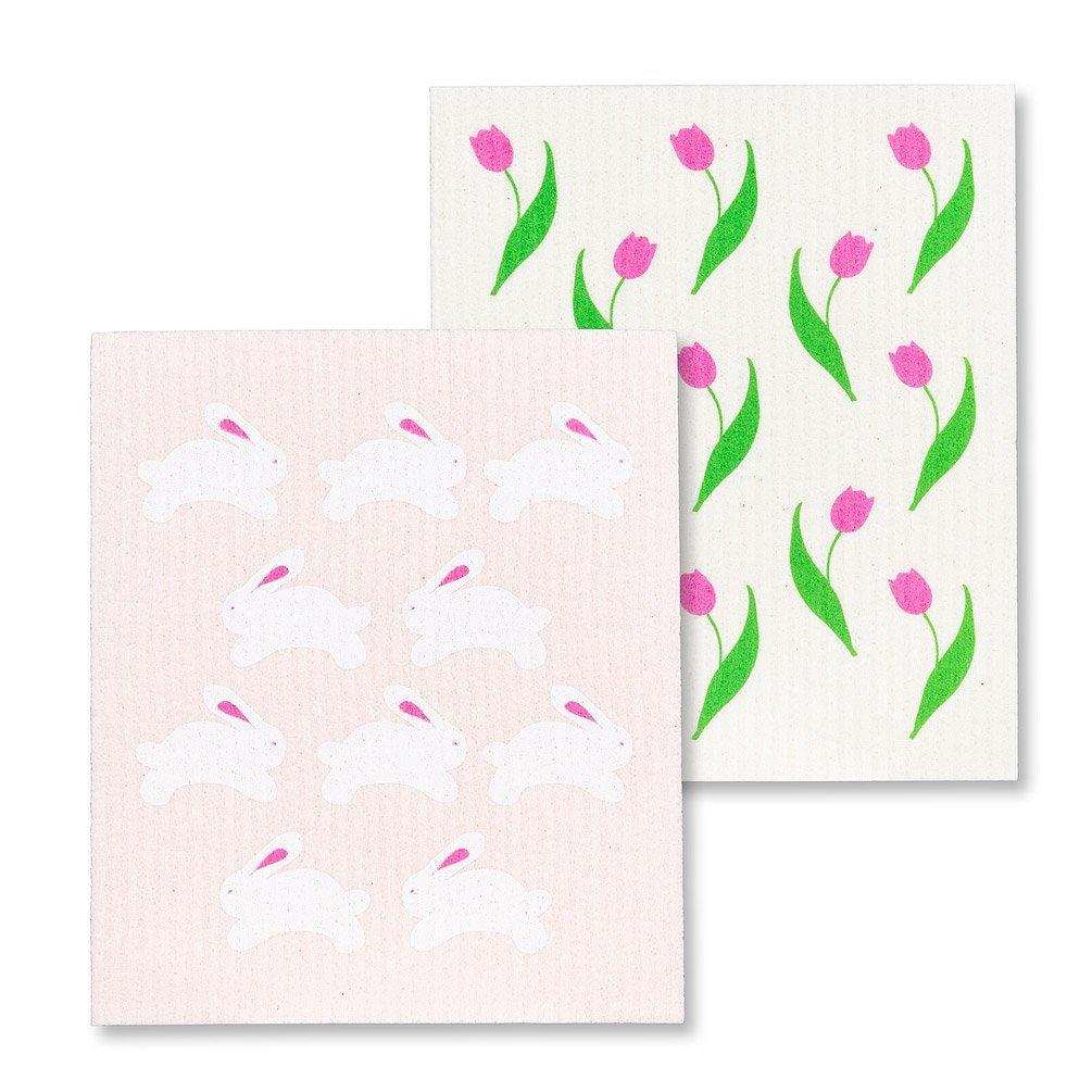 Bunnies & Tulips Dishcloths
