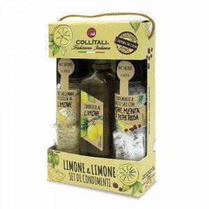 Collitali Italian Infused Lemon Olive Oil, Lemon Salt & Lemon Herb Mix Gift Set