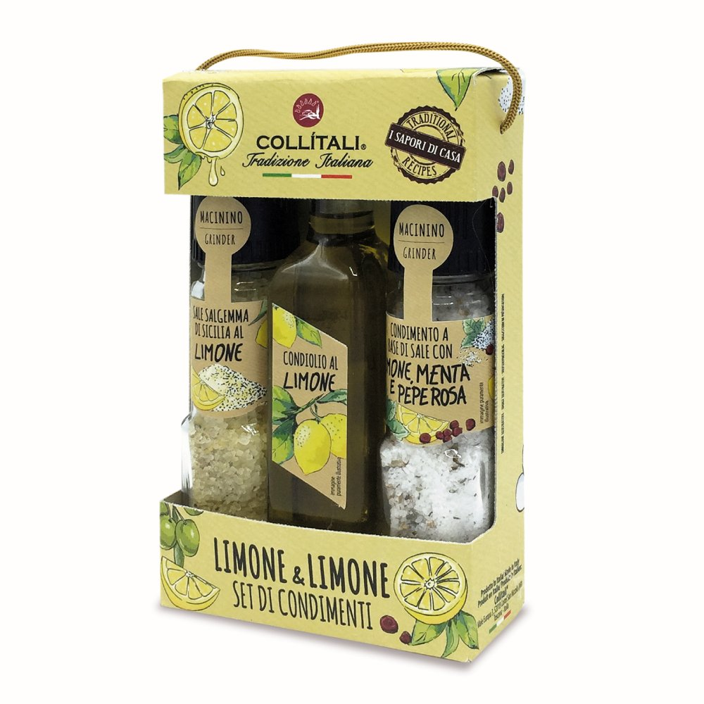 Collitali Italian Infused Lemon Olive Oil, Lemon Salt & Lemon Herb Mix Gift Set