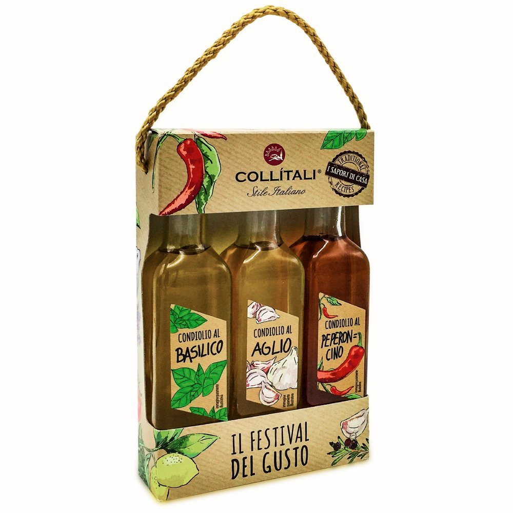 Collitali Infused Italian Extra Virgin Olive Oils (Basil, Chilli, Garlic) Gift Set- 300ml