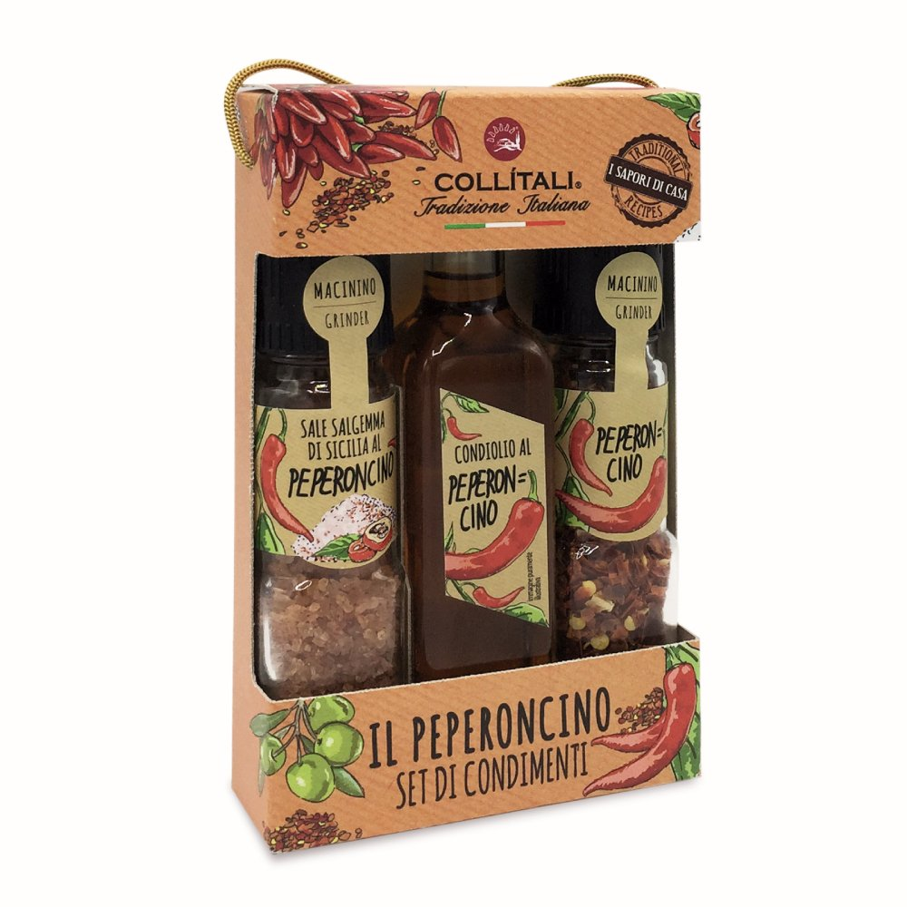 Collitali Italian Chilli Lovers Gift Set of Infused Oilve Oil, Chilli Salt & Chilli Peppers Gift Set