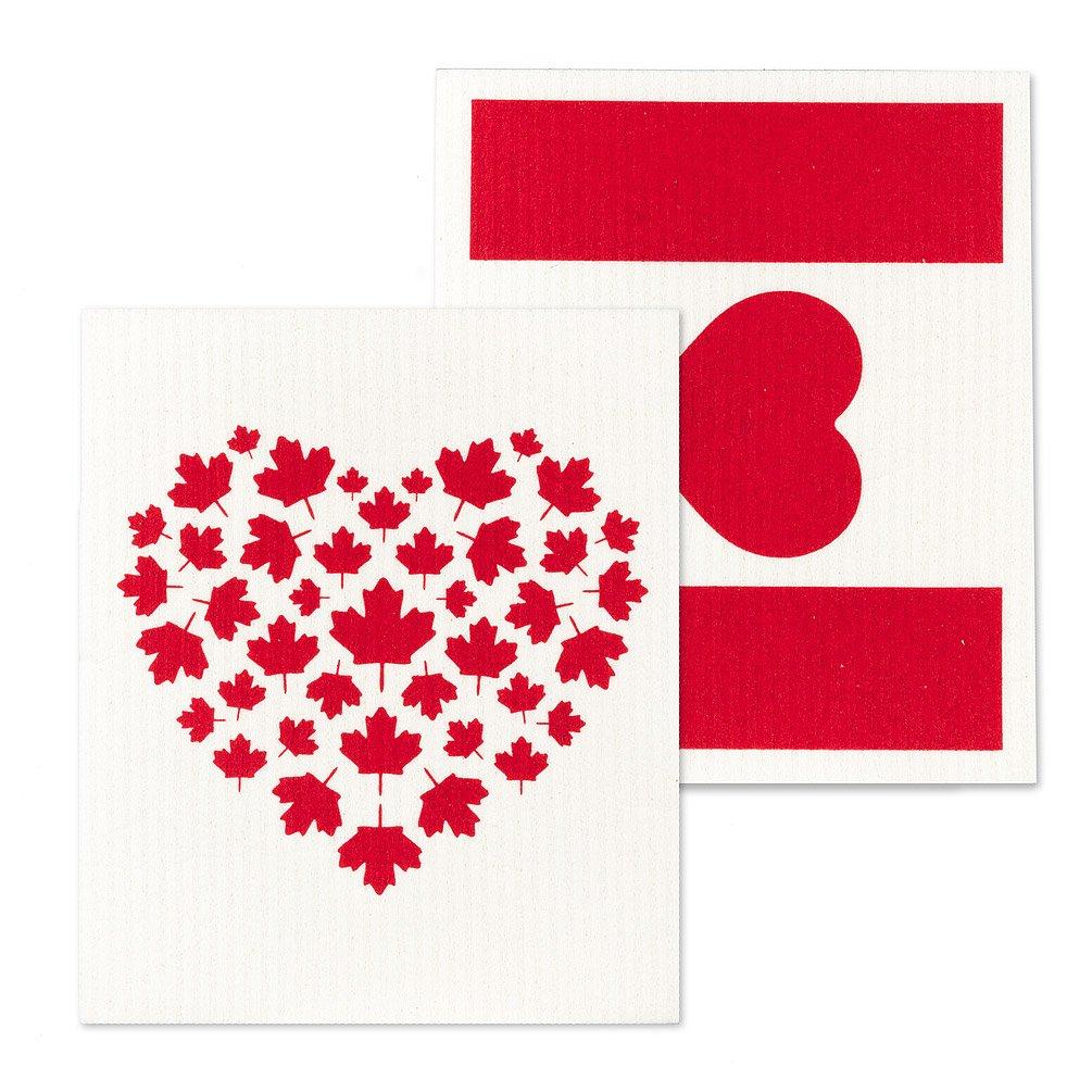 Canada Flag & Heart Dishcloths.
