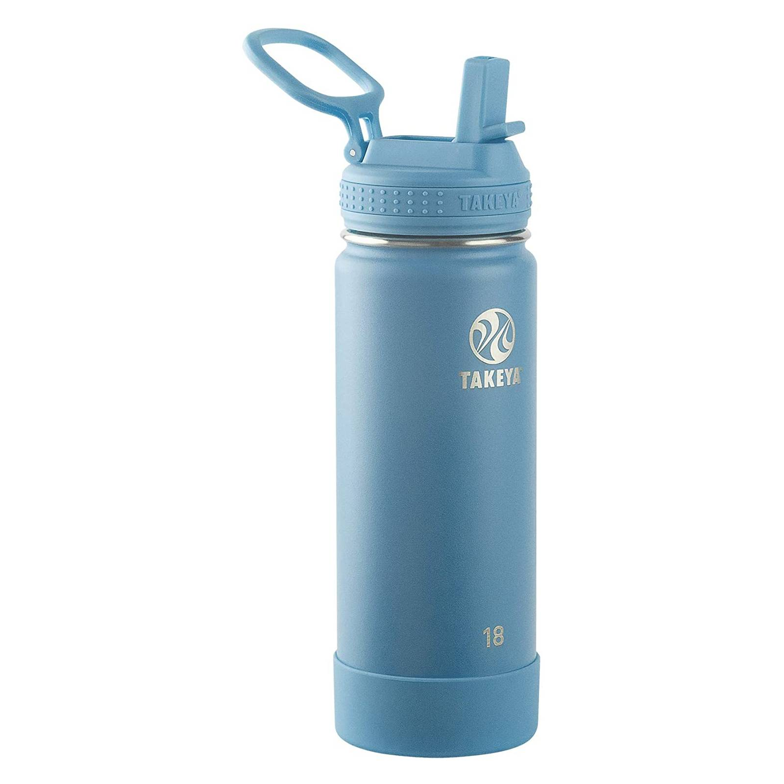 Takeya Actives Insulated Water Bottle With Straw Lid Bluestone